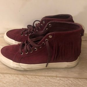 Vans Suede Leather Fringe hi tops size 8w